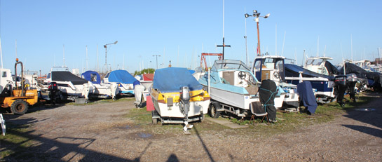 The secure boat compound located in Eastney.
